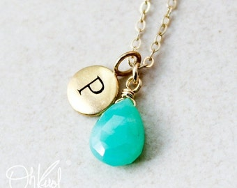 25% OFF Gold Green Chrysoprase Necklace - Initial Necklace - 14K GF