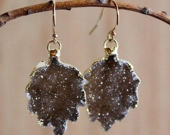 50% OFF Gold Espresso Brown Leaf Shape Dangle Earrings - Fall Inspired