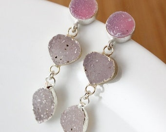 50% OFF Silver Rosy Pink Druzy and Mauve Druzy Earrings - Triple Druzy - Post Setting