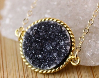 50% OFF Black Druzy Connector Necklace - 14K GF - Black Druzy Crystal