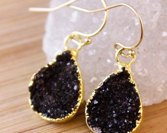 50 OFF SALE Small Black Druzy Teardrop Earrings - Pear Shape Earrings - Minimalist Jewelry