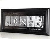 Alphabet Letter Photography- Personalized Alphabet Photo Letter Art 8x20- Black and White- FRAMED Name- Wedding