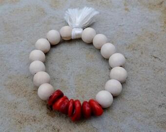Justhipstuff Coral  BoHo Bracelet / Wood Tassel / Stacking Bracelets