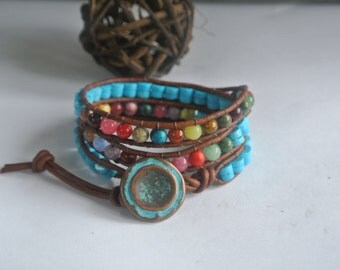 Eva Turquoise/ Gemstone Leather Beaded Wrap Bracelet