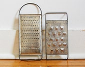 Vintage Pair Rustic Metal Graters Farmhouse Cottage Kitchen Decor Cheese Shredders.