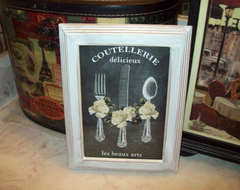French coutellerie chalkboard look 5x7 frame,SHABBY chic,Paris decor,FRENCH decor,French kitchen,Paris wall decor,silverware