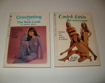 Group of Vintage 1969-70 Booklets - Crocheting for the New look and Quick Knits for Everyone - Crochet-Knitting Retro Designs