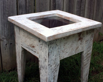 Small Display Table.  Small Shadowbox Table.  Display Side Table.  Glass Front Table.  Distressed White Finish   - Handmade