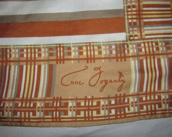 Vintage Anne Fogarty Square Silk Scarf - Brown, Light Green Stripes with Woven Border - Jaunty, Picnic Style