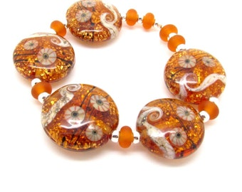 Amber Lampwork Beads,  Lampwork Beads, Lampwork Bead Set, Lentil Beads, Glass Beads, UK, SRA, FHFteam