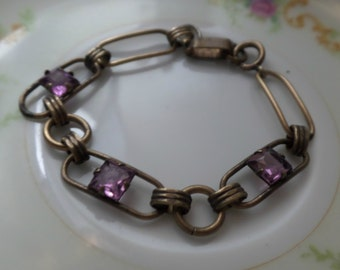 Old Stock SALE Vintage VICTORIAN Square Cut Amethyst Rhinestone Bracelet SIGNED 12k Gold Filled