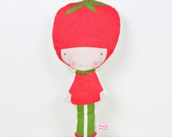 Strawberry cloth doll in red and green