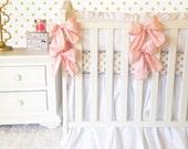 White Baby Bedding, Dupioni Silk Bows, White & Pink Baby Bedding, Crisp White Baby Linens, Ritzy Baby Designer Baby Bedding
