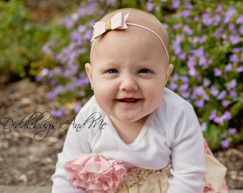 Pink And Gold Leather Bow Headband, Baby Headband, Flower Girl Headband, Bow Headband, Headband For Girls, Leather Bow Headband, Photo Props
