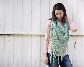 Cotton Bandana Scarf in Mint - Summer Knit, Fringe, Wrap