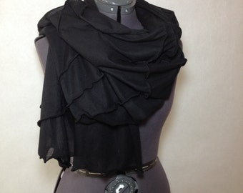 Oversized scarf. Chunky Winter Scarf. Black cowl scarf. Gift for her him. Christmas gifts. blanket scarf. inka clothing