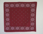 60s red bandana washfast colors cotton square arts and crafts print head scarf dog scarf made in usa