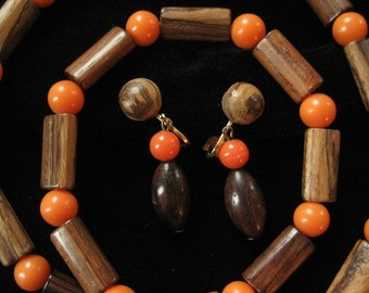 Genuine Wood and Orange Bead Necklace and Earring Demi