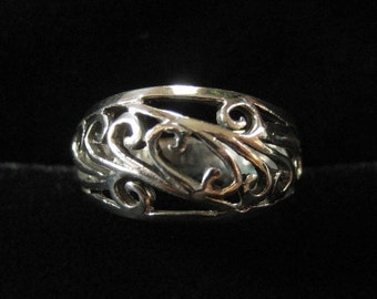 Sterling Silver Domed Filigree Band Ring, Size 8