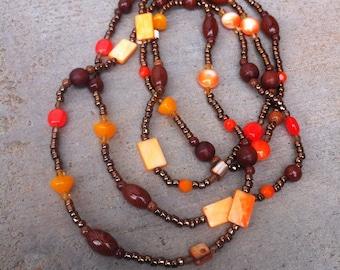 SALE Long Beaded Gypsy Boho Necklace, Opera, Layered, earthy, orange, fall, autumn, rustic