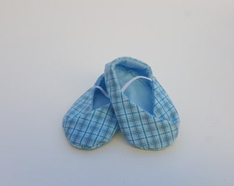 BABY SHOES  US-2.5 - Kimono Style in blue Plaid - size 0-3 months