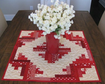 SALE Red Log Cabin Quilted Table Topper