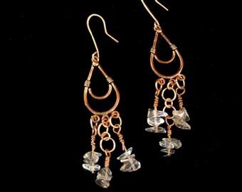 Raw Crystal Quartz Earrings - Long Dangle Copper Earrings - Raw Quartz Earrings - Big Copper Earrings - Smoky Quartz Earrings