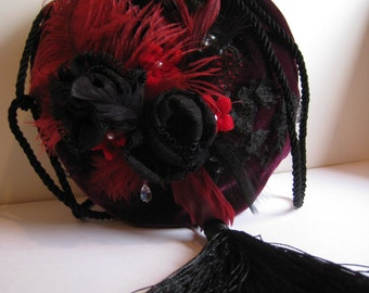 A Purple Silk Velvet Flapper Purse with Black and Red Lace Flowers and Feathers