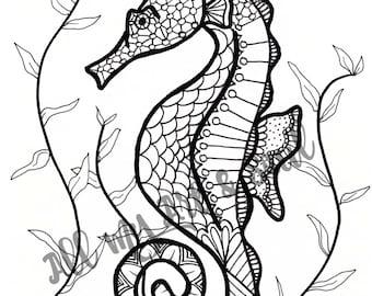 Adult Coloring Page - Seahorse - Instant Download - Zentangle - Doodle Illustration - DailyDoodler - Unique Seahorse Underwater Illustration
