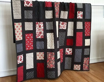 """Quilt Throw, Red is the New Neutral, HANDMADE Patchwork Quilt Red, Gray, Charcoal, cream 56x69"""""""