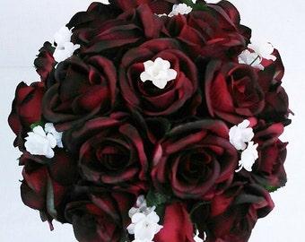 Black Tip dark Red Burgundy Silk Roses Wedding Bridal Bouquet