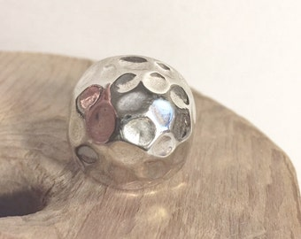 Vintage Sterling Silver Large Disco Ball Orb Dome Textured Hammered Sculpted Statement Ring