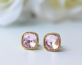 Pink Rosaline Swarovski Crystal Titanium Studs Square Gold Earrings