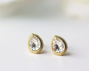 Swarovski Crystal Clear Titanium Stud Gold Bezel Pear Shape Simple Nickel Free Earrings