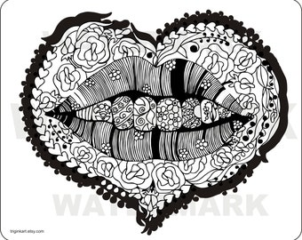 Kiss Me  Adult coloring page
