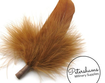 Vintage Men's Marabou and Goose Hat Feathers Millinery Mount - Honey