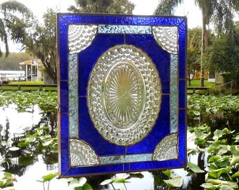 Blue Bubble Depression Glass Plate, Stained Glass Panel Window Transom, Antique Valance, Unique Window Valance, Stained Glass Transom Window