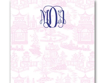 Large Square Personalized Chinoiserie Notepads / Monogram Note pads