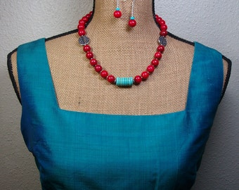 Natural Rust and Blue Turquoise Gemstone, 925 Silver Necklace and Earrings