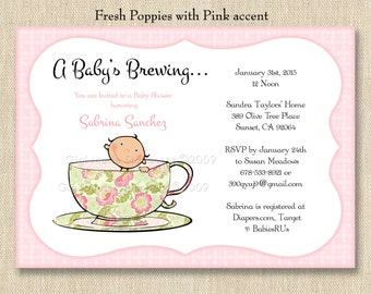 Tea for Two / Baby's Brewing / Baby Sprinkle Baby Shower Invitations - PRINTED INVITATIONS - Sold in packs of 10 includes envelope