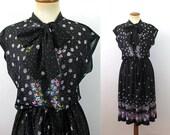 1970s Day Dress Pussy Bow Boho ASCOT Black Sheer Floral Cap Sleeve Twirl Pleated Skirt Midi Retro Hot Sexy Secretary Vintage 70s Medium M L