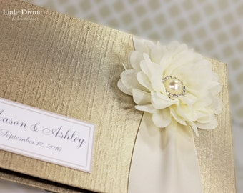 Champagne Wedding Guest Book Ivory ribbon Flower Custom Made