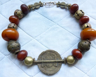 African Necklace, traditional style antique brass and African Amber (phenolic resin)