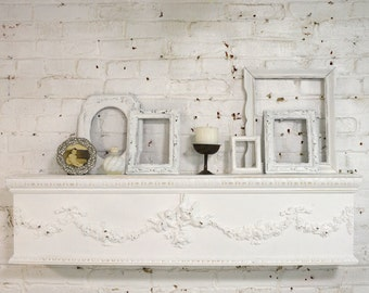RESERVED for DANEEN Painted Cottage Chic Shabby Handmade Window Valance /  Shelf Headboard / Mantel Shelf