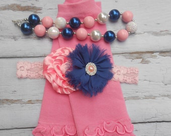 Pink Blue and white chunky necklace ruffled leg warmers and headband set Baby Girl Toddler