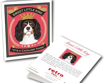 """Cavalier King Charles Cards """"Sweet Little King"""" 6 Small Greeting Cards by Krista Brooks"""