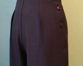 1930's 1940's vintage style  BROWN wool gabardine side buttoned slacks  CUSTOM ORDER