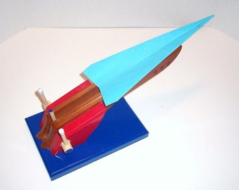 X-7 Goliath. Paper Airplane and Glider Launcher - Clear Redwood, Red, Gloss Blue Base