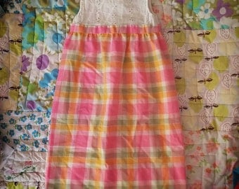 Pink plaid dress for toddler
