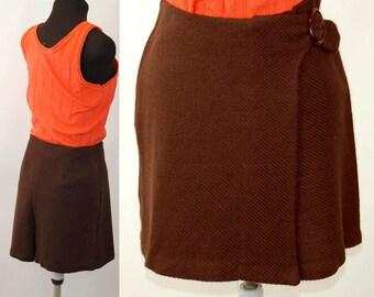 1960s skort brown tweed skort shorts skirt mini skirt wrap skirt Size S/M